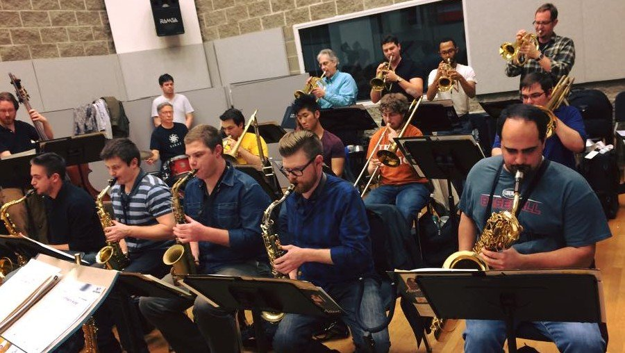 Members of the Cincinnati Contemporary Jazz Orchestra in rehearsal in 2015.