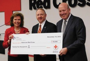 American Red Cross regional CEO Patricia Smitson, Ohio Casualty Insurance senior VP Robert Dodson and Cincinnati Red Cross board chair Chris Froman.