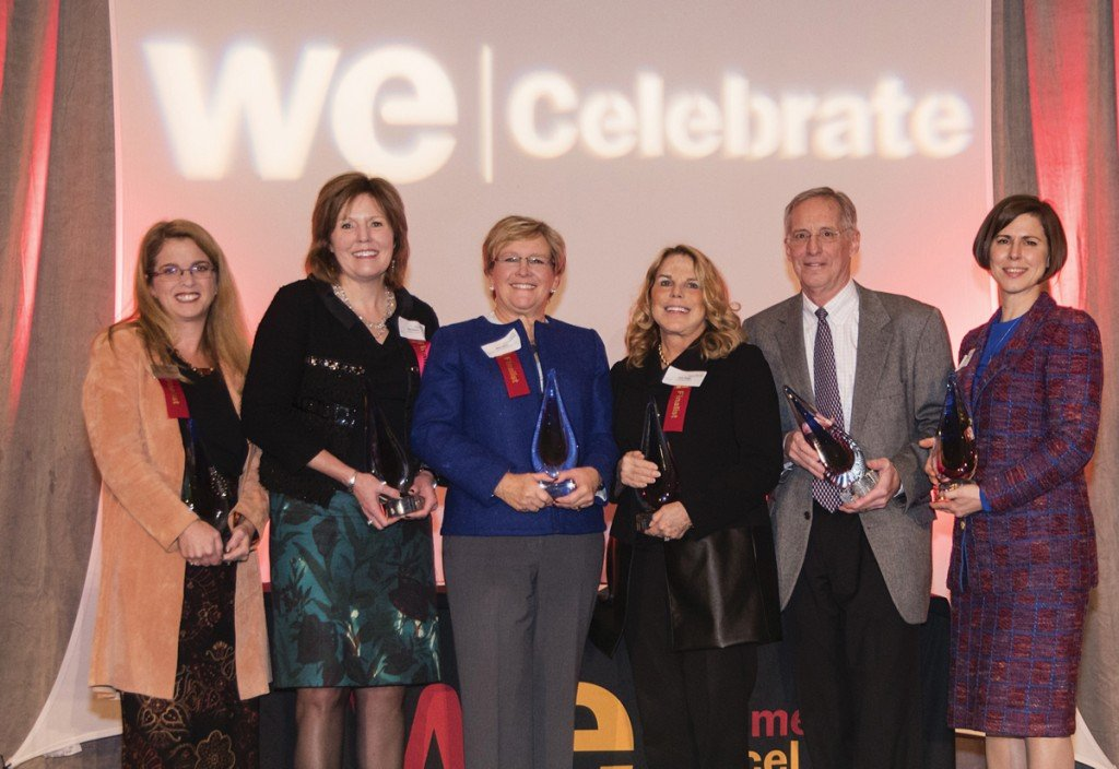 Honorees Robin Throckmorton, strategic HR; Gina Drosos, Assurex Health; Mary Miller, JANCOA; Patty Beggs, Cincinnati Opera; Bill Keating Jr., Keating Muething & Klekamp; and Elizabeth Knuppel, Skystone Partners