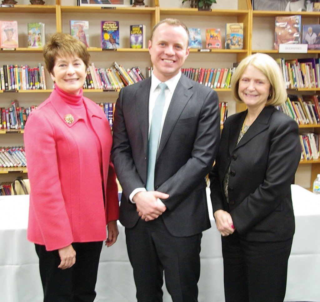 CPS superintendent Mary Ronan, Accelerate Great Schools CEO Patrick Herrel, and Susan Gibbons, interim superintendent of Catholic Schools