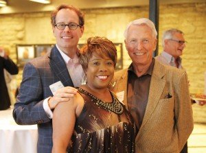 Playhouse Pride co-chair Jim Conway, Playhouse sales and events manager Piper M. Davis, and sponsor David C. Herriman at the 2015 Playhouse Pride