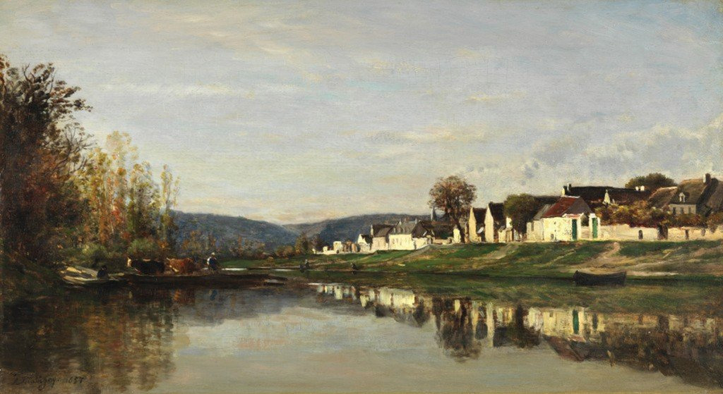 Charles François Daubigny, The Village of Gloton, 1857, oil on panel. San Francisco Fine Arts Museums.