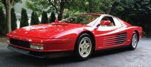 Ferrari, maker of this 1990 TestaRosa, is featured marque.