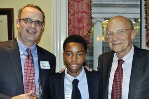 "Student ambassador Laurence Christian (center) with Jim Hagerty and James B. ""Rick"" Reynolds, major gifts committee co-chairs"