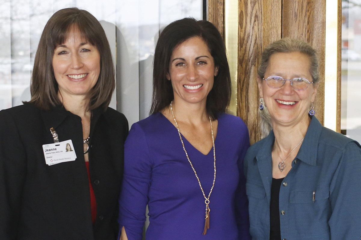 Parish Health Ministry director Jeanne Palcic with speakers Lisa Genova and Teepa Snow