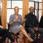 Art Museum curator Brian Sholis, exhibit curator Rehema Barber, artist John Bankston and art collector Mera Rubell