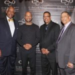 Edgar Smith, chairman and CEO of presenting sponsor WorldPac Paper; Common; Eric Ellis; and Michael A. Battle, president of the Freedom Center