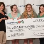 Anderson High School: teachers Cheryl Kemper and Jennifer Cook; students Sarah Crable and Zoe Popmiller; and Kendra Massey and Caitlin Burke of Women Helping Women