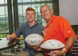 Andy Dalton with a fan