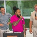 Bob Herzog of Local 12 with Rey Maualuga and Dave Lapham