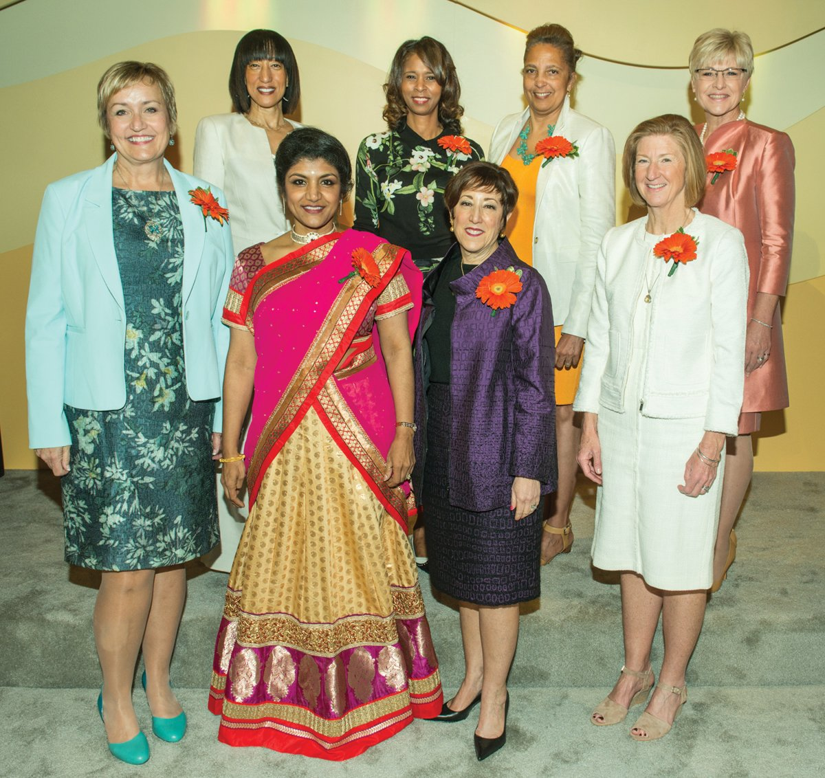 Honorees Sandy Berlin Walker, president/CEO, YMCA of Greater Cincinnati; Dr. Lakshmi Kode Sammarco, Hamilton County coroner; Susan Zaunbrecher, partner, corporate department chair, Dinsmore & Shohl; Moira Weir, director, Hamilton County Department of Job & Family Services; (rear) Claudia Abercrumbie, president/CEO, The Abercrumbie Group; Laura Mitchell, deputy superintendent, Cincinnati Public Schools; Christi Cornette, senior VP, marketing, Cincinnati Bell; Karen Bowman, principal and sector leader, Deloitte Consulting