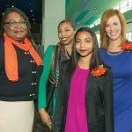 Karen Bankston, UC College of Nursing; Kamarie Flowers; Miracle Flowers, Western Hills University High School; and Sheila Gray, luncheon emcee