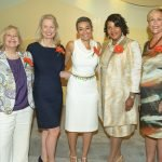 Nancy Lawson, YWCA board chair; Teresa Tanner, luncheon co-chair; Zainab Salbi; Dr. Monica Newby, luncheon co-chair; and Barbara Perez, YWCA president/CEO