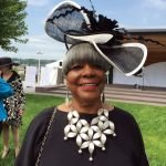 Merri Gaither Smith, in a Women's Alliance luncheon hat (and a fabulous necklace too!)
