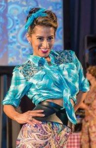 Lorena Compean in paisley and plaid