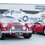 Warbird and vintage cars at the Hangar Party