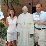 Cathy and Tim Brinkman meet the (cardboard) pope