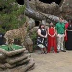 Cincinnati Zoo staff and cheetah with Cincinnati Opera singers Erin Keesy, Adria Caffaro, Christian Pursell, La'Shelle Allen, and Pedro A. Arroyo