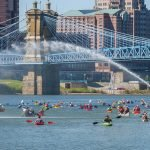 Some paddlers race, while others just float downriver.