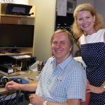 Jay and Susan Hammer visit radio station WCARA during the event.