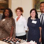 Event Celebrity Chef Jean-Phillip, Community Shares campaign manager Dionne Owens, Beverly Sear, Community Shares CEO Michelle Dillingham, and host Rob Williams, FOX 19 anchor