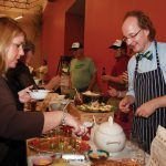 Amateur chef Ingo Kiesewetter, representing the League of Women Voters, and guest Amy Parkinson