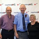 Roger Grein (center) with donors Joe and Gladys Stolz