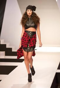 Model wearing Asha Ama Daniels' design for Project Runway.