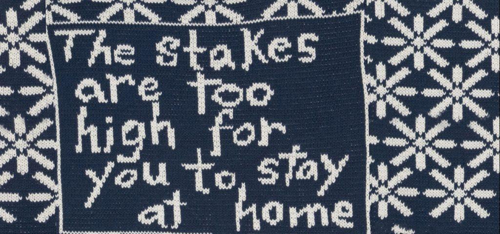 Lisa Anne Auerbach, Hayes/ Tilden 1876 Campaign Sweater (detail) wool, 2008