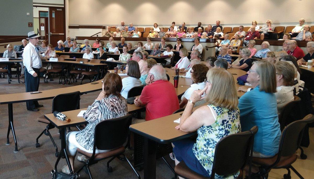 Mark Plageman, professor emeritus at Miami University, teaching a class