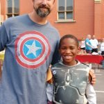 Kevin Fleischmann and his superhero partner