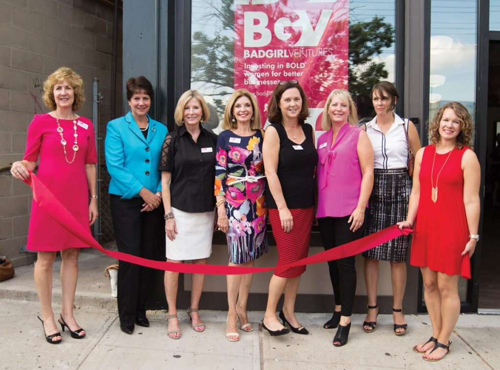 Staff and board members at the ribbon-cutting: MaryAnne Pietromonaco, Kathy Mitts, Janet Schlegel, Cheryl Stamm, Karen Finan, Nancy Aichholz, Michelle Andersen and Angela Ozar