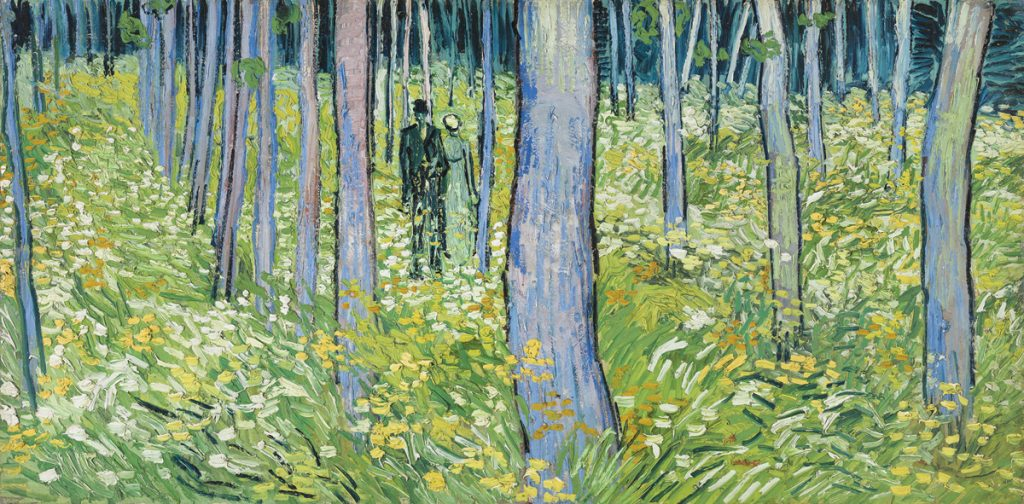 "Vincent van Gogh (1853–1890), ""Undergrowth with Two Figures,"" June 1890, oil on canvas, 19 ½ x 39 ¼ in. (49.5 x 99.7 cm), Cincinnati Art Museum; bequest of Mary E. Johnston, 1967.1430"