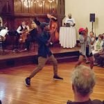 At Venti Viennese at The Sanctuary: Dancers from Elementz perform with CCO musicians and cello star Joshua Roman Photo by Mikki Schaffner