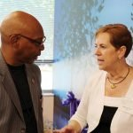 Larry William of Shroder High School with Barb Terry, chief operating officer of The Children's Home