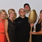 CHA president/CEO Mary Lynn Foster; emcee and Corporate Consciousness president Deni Tato; Golden Spoon winner Alfio Gulisano of Alfio's Buon Cibo; Stephen Spyrou, local chapter president of the American Culinary Federation; and chef Renee Schuler, emcee and founder of eatwell celebrations and feasts