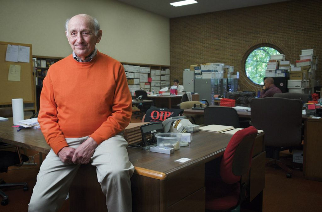 Richard Rosenthal at the offices of UC College of Law's Ohio Innocence Project, where law students and attorneys conduct research and investigate cases. He recently gave $15 million to further this program.