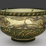"""""""Year of the Rabbit,"""" bowl by Terri Kern. Hand-carved and painted ceramic bowl."""