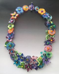 """Secret Garden,"" necklace by Lisa Inglert. Sterling silver and hand-made glass beads."
