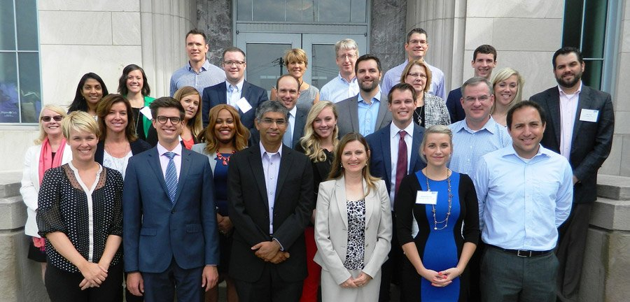 The fall class: (front row) Jaimie Robinson, The Christ Hospital; Ryan Goellner, Frost Brown Todd; Gautham Parthasarathy, Michelman; Michelle Edwards, First Financial Bank; Andrea Brunner, United Way of Greater Cincinnati; Vagelis Kontopos, The E.W. Scripps Co.; (second row) Debbie Kokoruda, Procter & Gamble Co. retiree;  Kelly Low, Cincinnati Bell; Candice Thomas, Thompson Hine; Danielle Zink, Orchestrate Technologies; Andrew Chamberlain, Keating Muething & Klekamp;  Scott Keating; Cincinnati Bell; (third row) Thilini Ariyachandra, Xavier University; Christina Sempsrott, Fifth Third Bank; Tony Verticchio, Keating Muething & Klekamp; Kris Kellinghaus, MCF Advisors; Doris Paul, Ohio National Financial Services; Alyse Hoffer, Frost Brown Todd; Jeff Yund, ProLink Staffing; (fourth row) Alison Morris, The E.W. Scripps Co.; Brian Frankey, Silixa; Matt Kraick, Ohio National Financial Services; Vick Rogers, U.S. Bank;Tim Beck, Cincinnati Bell; Lukas Schmid, Michelman; and David Hein, U.S. Bank.