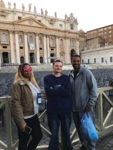 Outside St. Peter Basilica in Rome, Tiffany Hunter; Jeffery Whalen and St.. Vincent de Paul reentry coordinator Dominic Duren