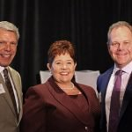 VNA board chair Doug Bolton, CEO Valerie Landell, board member Erick Schmidt