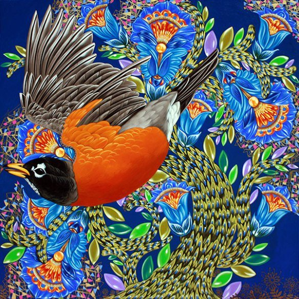 Exult #3 American Robin with Fanciful Bluebell, 2016, 30″ x 30″, Acrylic on wood.