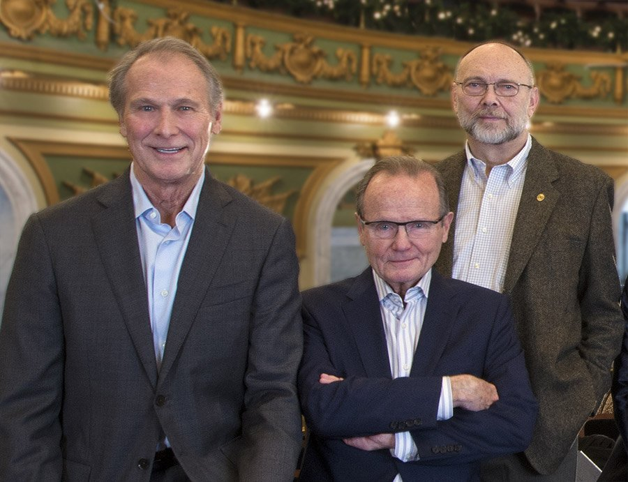 Bill Baumann, Chairman of the Cincinnati Memorial Hall Society (CMHS); Jim Fitzgerald, Trustee & Chair of CMHS Program Committee; Jim Wellinghoff, Trustee of the Annie W. & Elizabeth M. Anderson Foundation which provided funding to establish the Longworth-Anderson Series.
