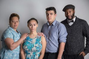 """Keisha Kemper as Amanda, Talia Brown as Laura, Andrew Ornelas as Tom, and Landon E. Horton as Jim, in New Edgecliff's """"The Glass Menagerie."""" Photo by Mikki Schaffner."""