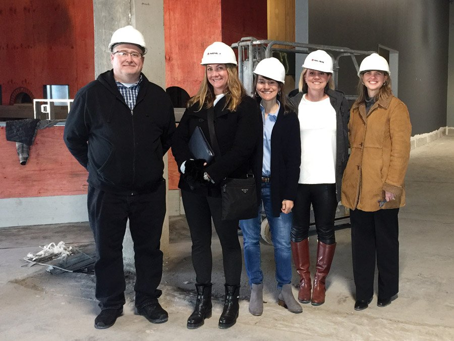 At the groundbreaking of the MadTree venue: Cincinnati Ballet director of production Kyle Lemoi, Club B chairs Cynthia Henderson and Keke Sansalone, Cincinnati Ballet director of development Sara Pomeroy and Susan Arnold, Club B sponsorship chair