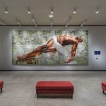 """Schmidlapp Gallery from summer 2016, featuring temporary exhibition mural (Kehinde Wiley, United States, """"Sleep,"""" 2008, oil on canvas, Rubell Family Collection, Miami)"""