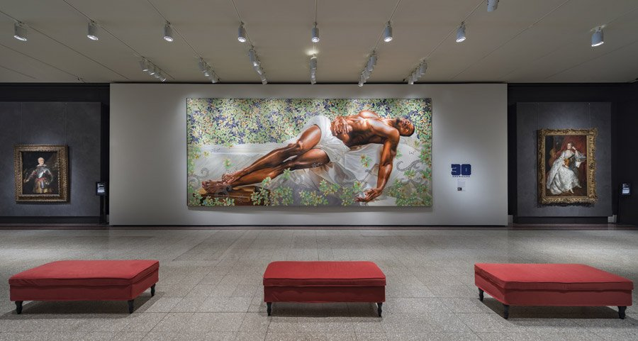 "Schmidlapp Gallery from summer 2016, featuring temporary exhibition mural (Kehinde Wiley, United States, ""Sleep,"" 2008, oil on canvas, Rubell Family Collection, Miami)"