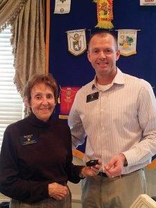 Sandy Shevers with Cincinnati Eastside Rotary President Eric Radtke