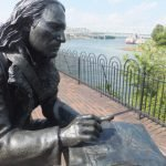 Painter/ornithologist John James Audubon, one of seven bronze statues on the Cincinnati Bicentennial River Walk.